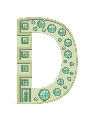 Letter D house isolated on white background. Vertical portrait A4 page. Printable.