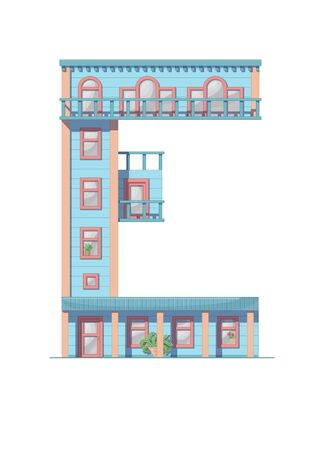 Letter E house isolated on white background. Vertical portrait A4 page. Printable.