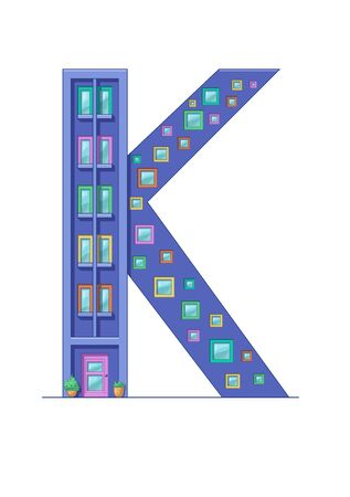 Letter K house isolated on white background. Vertical portrait A4 page. Printable. Çizim
