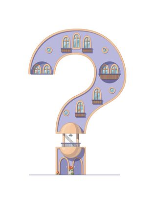 Question mark house isolated on white background. Vertical portrait A4 page. Printable. Vectores