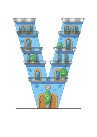 Letter V house isolated on white background. Vertical portrait A4 page. Printable.