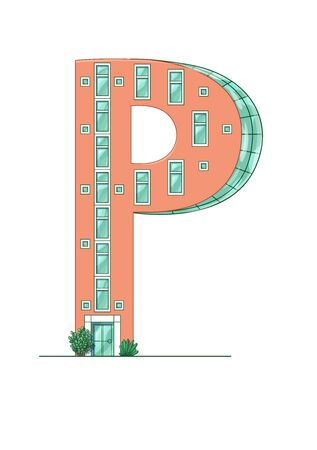 Letter P house isolated on white background. Vertical portrait A4 page. Printable.