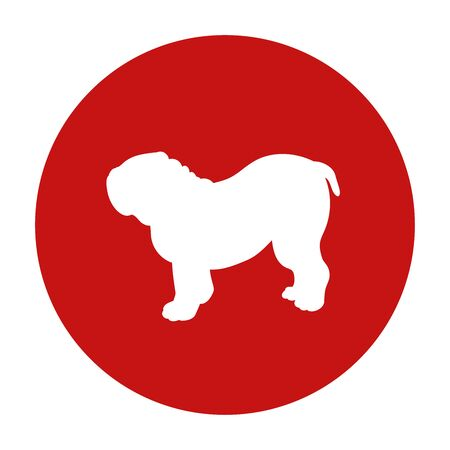 Prohibition dog red circle sign. Breed bulldog. Vector illustration isolated on white background.