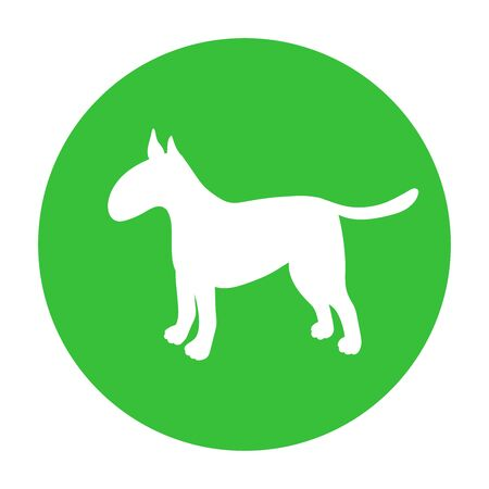 Dog friendly sign. White silhouette of dog on green circle. Vector. Breed bullterrier.