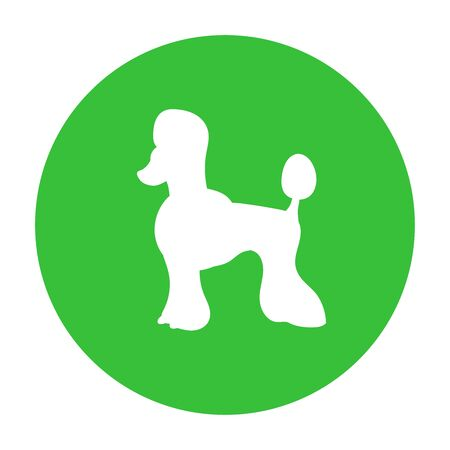Dog friendly sign. White silhouette of dog on green circle. Vector. Breed poodle.