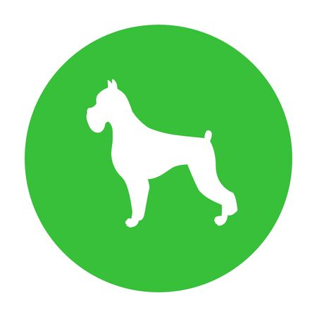 Dog friendly sign. White silhouette of dog on green circle. Vector. Breed boxer Иллюстрация
