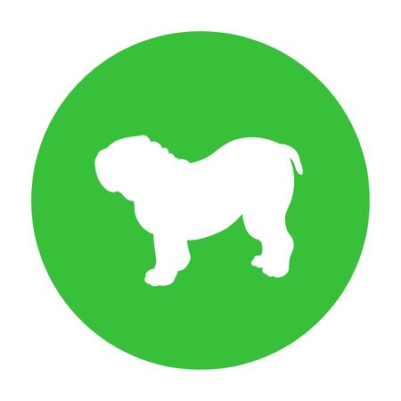 Dog friendly sign. White silhouette of dog on green circle. Vector. Breed bulldog.