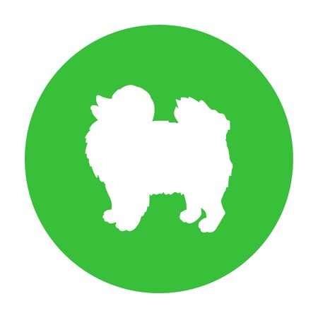 Dog friendly sign. White silhouette of dog on green circle. Vector. Breed spitz. Иллюстрация
