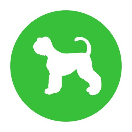 Dog friendly sign. White silhouette of dog on green circle. Vector. Breed schnauzer