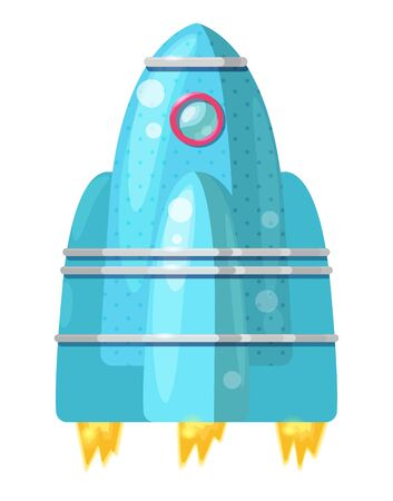 Cartoon blue rocket with flame isolated on white background. Vector