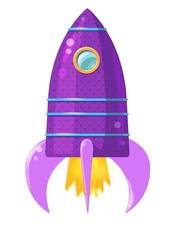 Cartoon violet rocket with flame isolated on white background. Vector