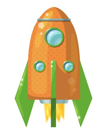 Cartoon orange rocket with flame isolated on white background. Vector