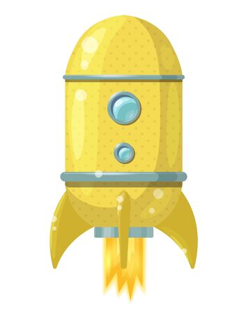 Cartoon yellow rocket with flame isolated on white background. Vector