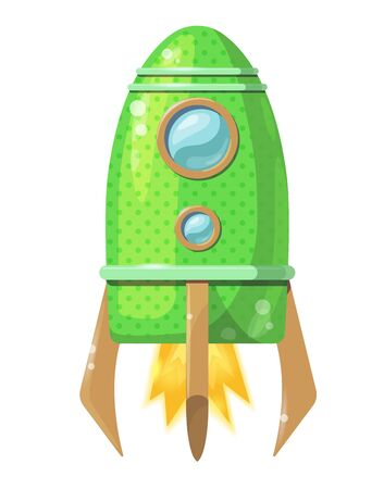 Cartoon light green rocket with flame isolated on white background. Vector Иллюстрация