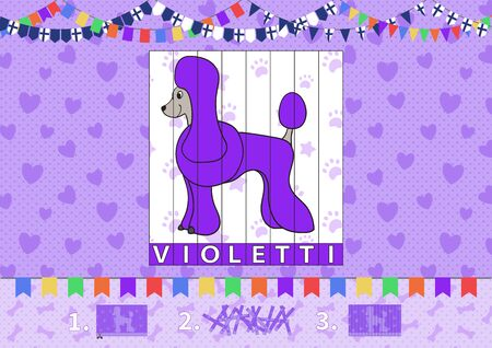 Printable album A4 page for preschool and kindergarten kids. Learn colors in finnish language. Puzzle. Cut and complete. Violet. Cartoon dog poodle. Vector