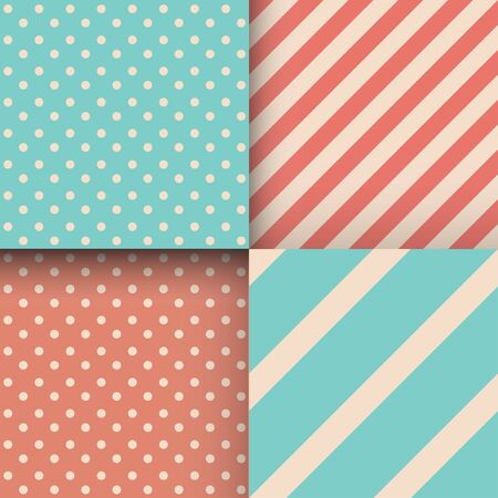 Set of seamless abstract patterns. Stripes and polka dot. Trendy colours. Mint, coral. Vector illustration