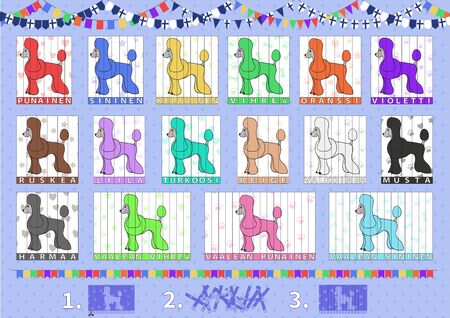 Set of puzzles with cartoon dog, poodles for learning colors in finnish language. Vector