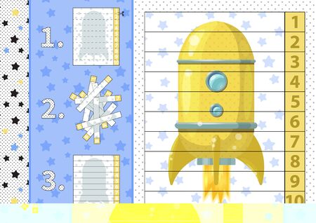 Counting number puzzle with cartoon rocket. From 1 to 10. Cut and assemble.