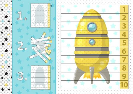 Counting number puzzle with cartoon rocket. From 1 to 10. Cut and assemble. Vector Иллюстрация