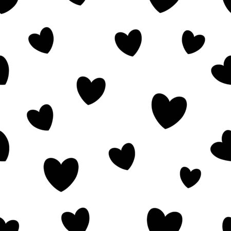 Seamless pattern with black hearts on white background. Vector illustration