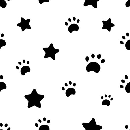 Seamless pattern with black stars and paws in white background. Vector illustration Иллюстрация