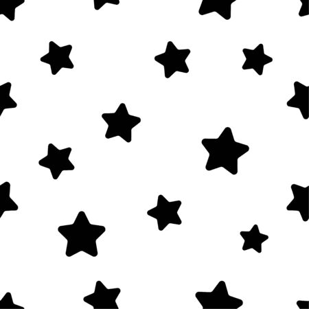 Seamless abstract pattern with black stars on white background. Vector illustration