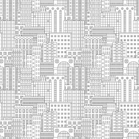 Seamless patten with urban landscape. Town, city, skyscapers. Contour vector illustration.