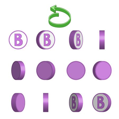 Letter B in circle rotation sequence sprite sheet on white background. Vector illustration