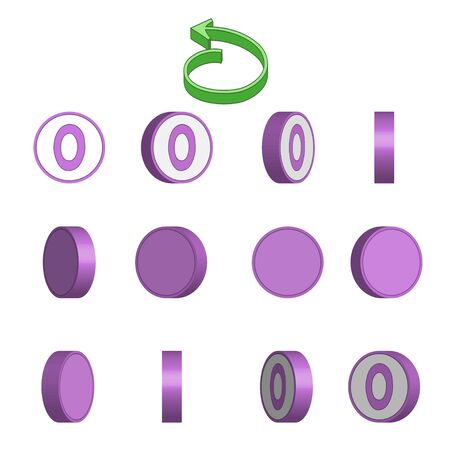 Letter O in circle rotation sequence sprite sheet on white background. Vector illustration