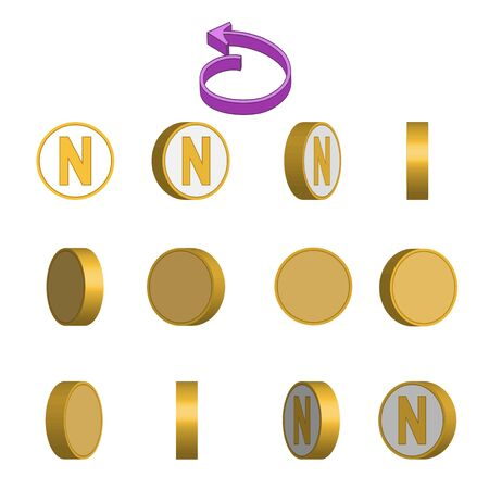 Letter N in circle rotation sequence sprite sheet on white background. Vector illustration