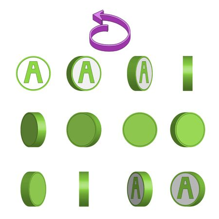 Letter A in circle rotation sequence sprite sheet on white background. Vector illustration Иллюстрация