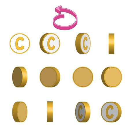 Letter C in circle rotation sequence sprite sheet on white background. Vector illustration