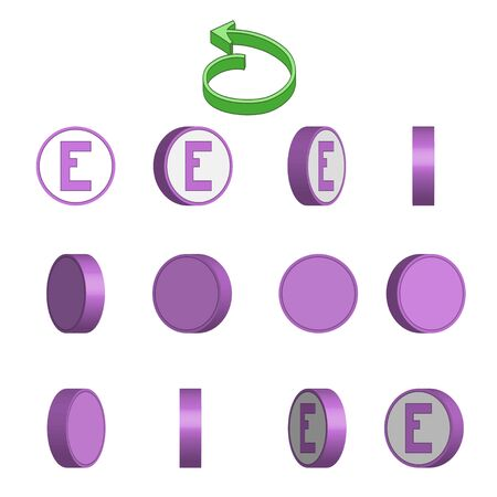 Letter E in circle rotation sequence sprite sheet on white background. Vector illustration Иллюстрация