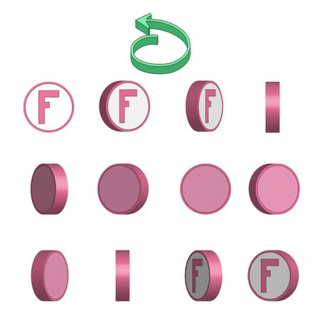 Letter F in circle rotation sequence sprite sheet on white background. Vector illustration Иллюстрация