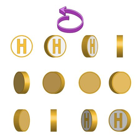 Letter H in circle rotation sequence sprite sheet on white background. Vector illustration