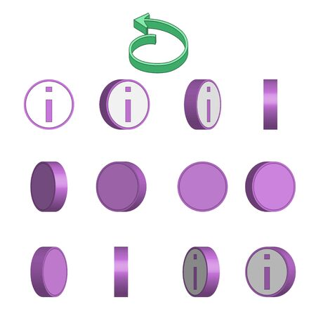 Letter I in circle rotation sequence sprite sheet on white background. Vector illustration
