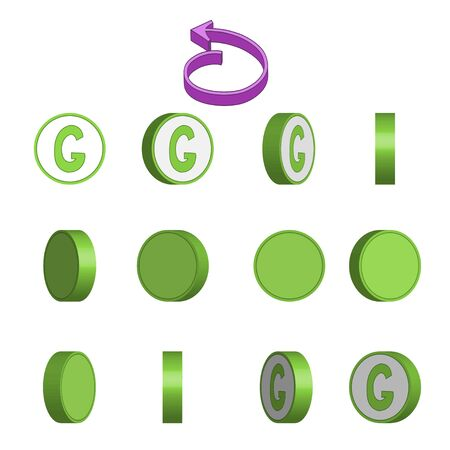 Letter G in circle rotation sequence sprite sheet on white background. Vector illustration Иллюстрация