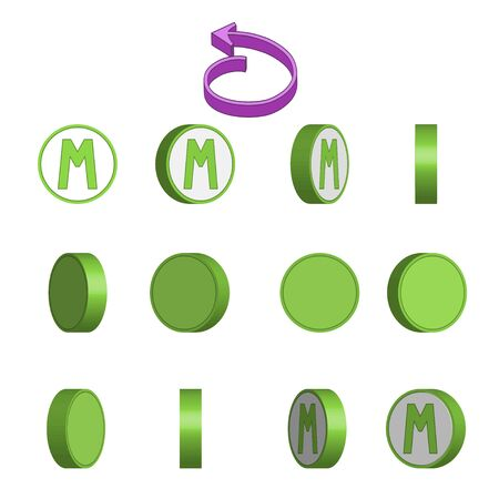 Letter M in circle rotation sequence sprite sheet on white background. Vector illustration Иллюстрация