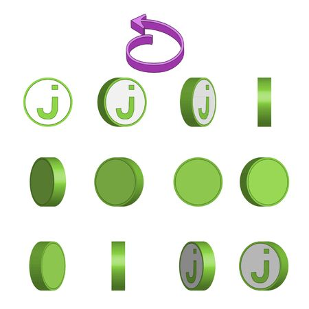 Letter J in circle rotation sequence sprite sheet on white background. Vector illustration