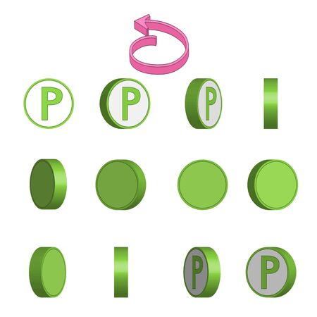 Letter P in circle rotation sequence sprite sheet on white background. Vector illustration