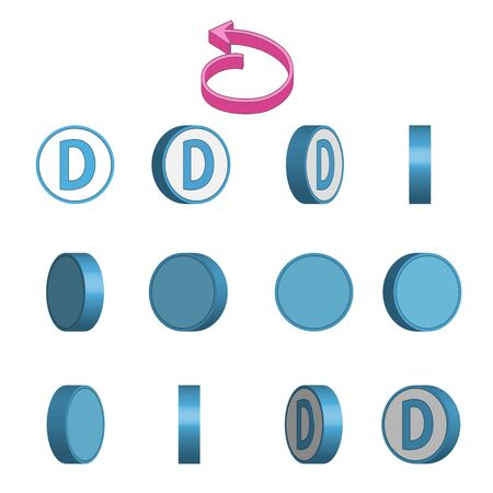Letter D in circle rotation sequence sprite sheet on white background. Vector illustration