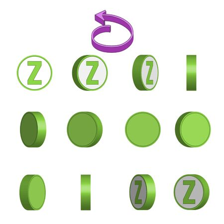 Letter Z in circle rotation sequence sprite sheet on white background. Vector illustration