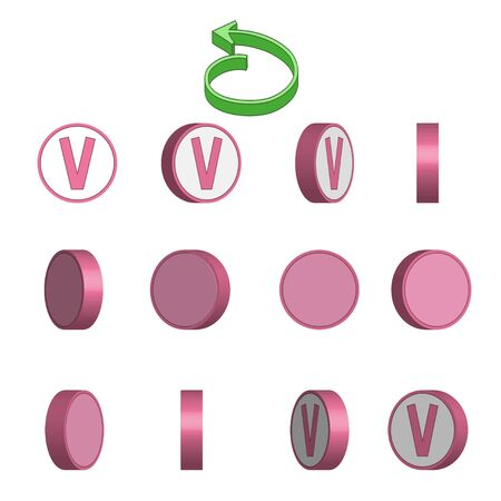 Letter V in circle rotation sequence sprite sheet on white background. Vector illustration