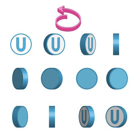 Letter U in circle rotation sequence sprite sheet on white background. Vector illustration