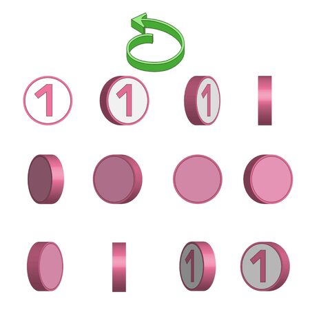 Number 1 in circle rotation sequence sprite sheet on white background. Vector illustration