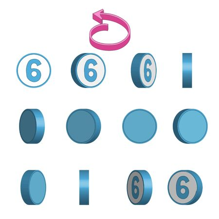 Number 6 in circle rotation sequence sprite sheet on white background. Vector illustration