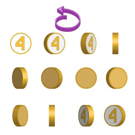 Number 4 in circle rotation sequence sprite sheet on white background. Vector illustration