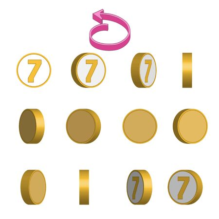 Number 7 in circle rotation sequence sprite sheet on white background. Vector illustration Иллюстрация