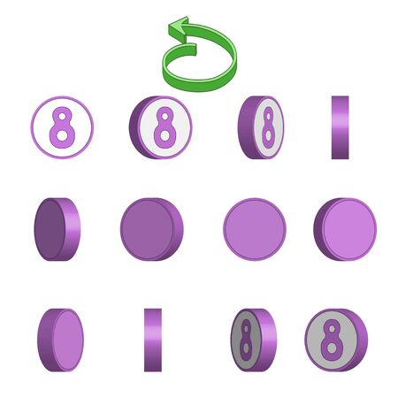 Number 8 in circle rotation sequence sprite sheet on white background. Vector illustration. Иллюстрация