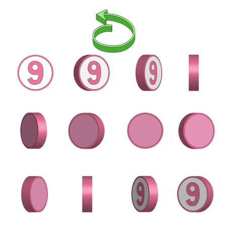 Number 9 in circle rotation sequence sprite sheet on white background. Vector illustration